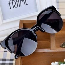 Óculos de sol feminino retrô, óculos redondos super redondos, estilo olho de gato, para mulheres 2016