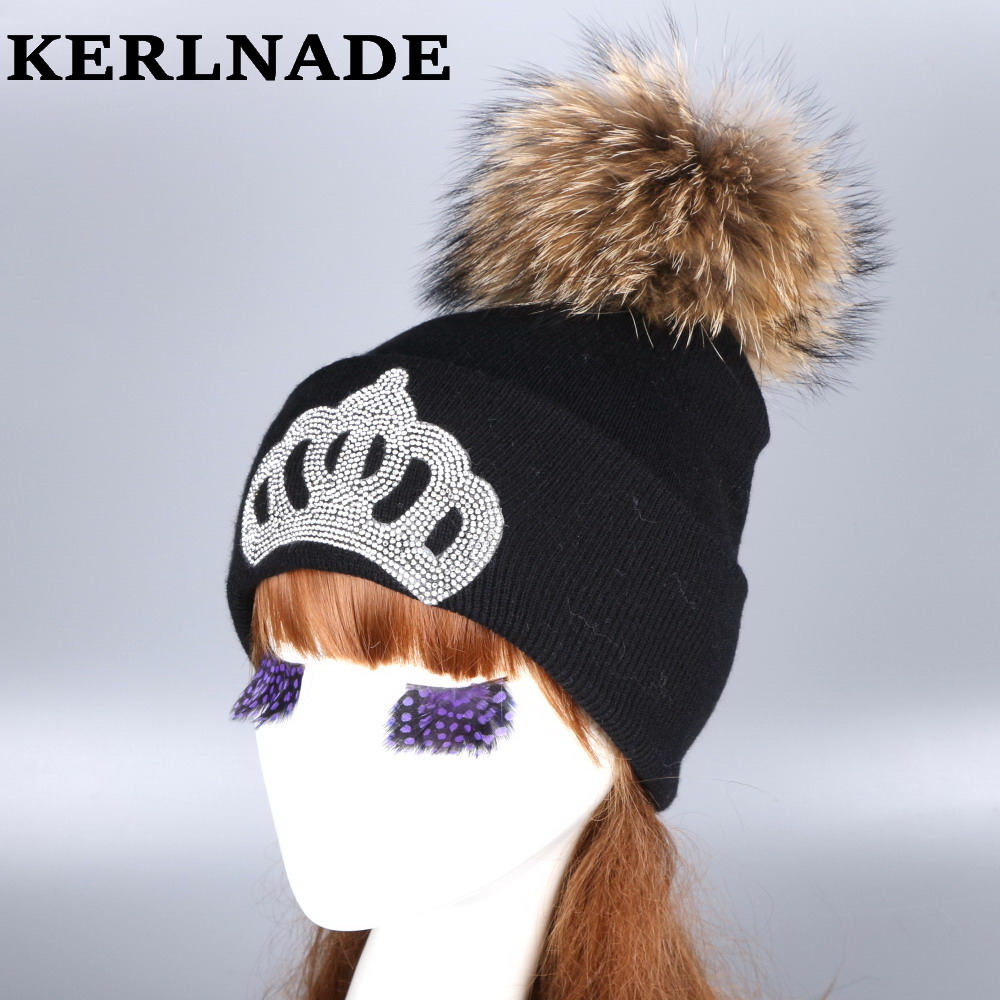 mink and fox fur ball cap pom poms winter hat for women girl 's wool hat knitted cotton beanies cap brand new thick female hats new star spring cotton baby hat for 6 months 2 years with fluffy raccoon fox fur pom poms touca kids caps for boys and girls