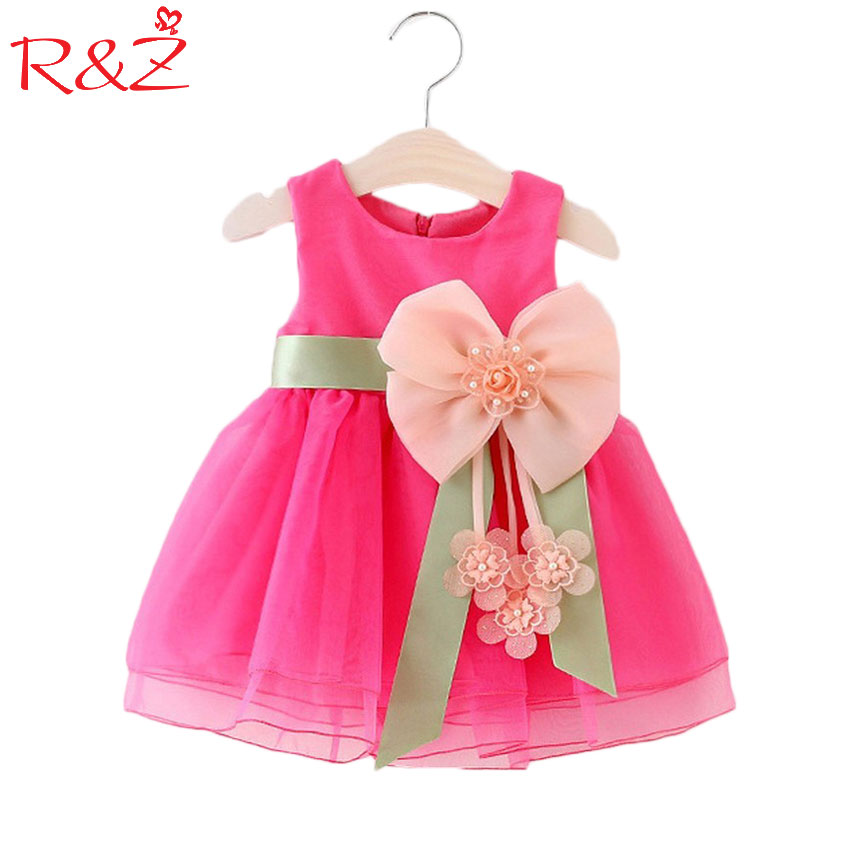 R&Z Baby Girls Big Bowknot Infant Party Dress For Toddler Girl First Birthday Baptism Clothes Double Formal Tutu Dresses 2017 lovely toddler girl dress princess stripe tutu baptism child clothes 1 year birthday baby girls dresses for infant 2 year