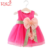 R&Z Baby Girls Big Bowknot Infant Party Dress For Toddler Girl First Birthday Baptism Clothes Double Formal Tutu Dresses