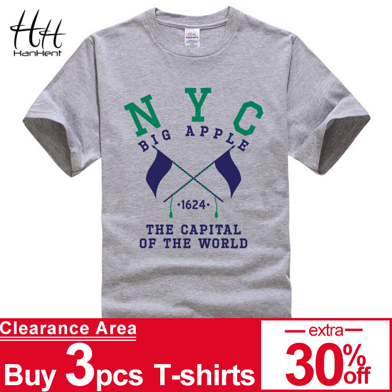 HanHent Mannen NYC New York City T-shirts Print Man Katoen Casual T-shirt voor Heren Heren Shirts VS Fitness Zomer Losse Tops Tees