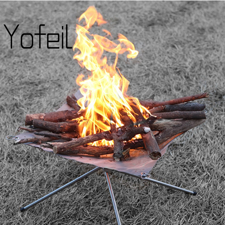 Outdoor Foldable Stainless Steel Mesh Firewood Furnace Burn Pit Stand Carbon Heating Stove Rack Platform Charcoal Camping Tools