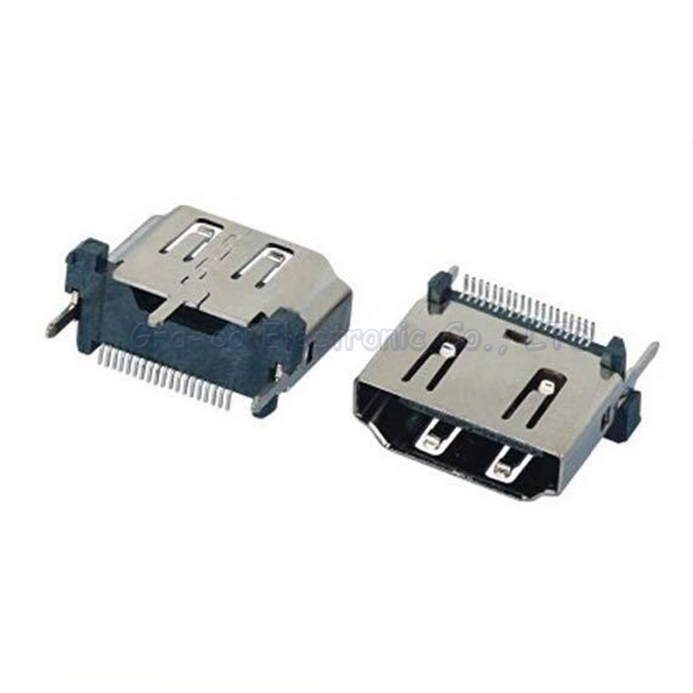 10pcs Hdmi Jack 19p Female Socket Vertical 180 Degree With Three Positioning Feet High Quality Materials