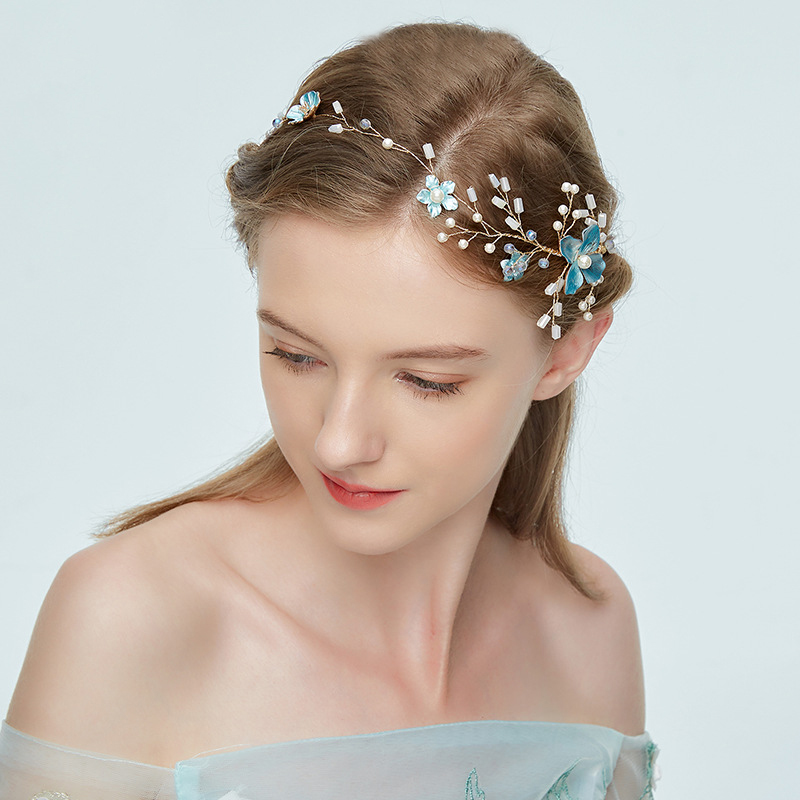 Blue Planted Flower Headband Hair Accessories Bridal Wedding Headdress Golden Alloy Handmade Hairband Girls Pageant Headwear New цена