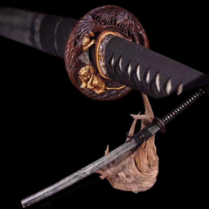 Précieux katana T10 brûlé bords main sol en acier Damas paquet En Bois perle peau Luxe cadeaux décoration objets de collection