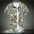 Большой размер м-7xl ( бюст 144 см ) в 2016 году летом новую рубашку горячего тиснения печать сломанной красивой с короткими рукавами большой ярдов