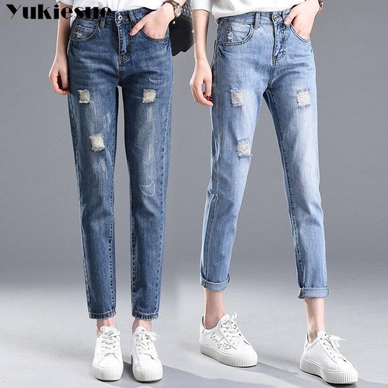 2018 Autumn High Waist mom jeans Female Boyfriend Jeans For Women Trousers Woman Pencil Pants Denim Ripped Jeans Plus Size