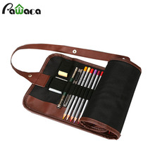 36/48/72 Holes Portable School Pencil Case Escolar Estuche Box Stationery Cute Canvas Pen Organizer Roll Up Storage Bag