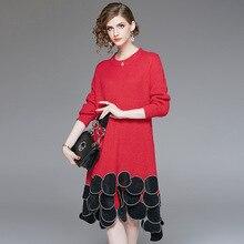 где купить Loose elastic knit a line sweater dress 2018 new long sleeve o-neck appliques women autumn dress по лучшей цене