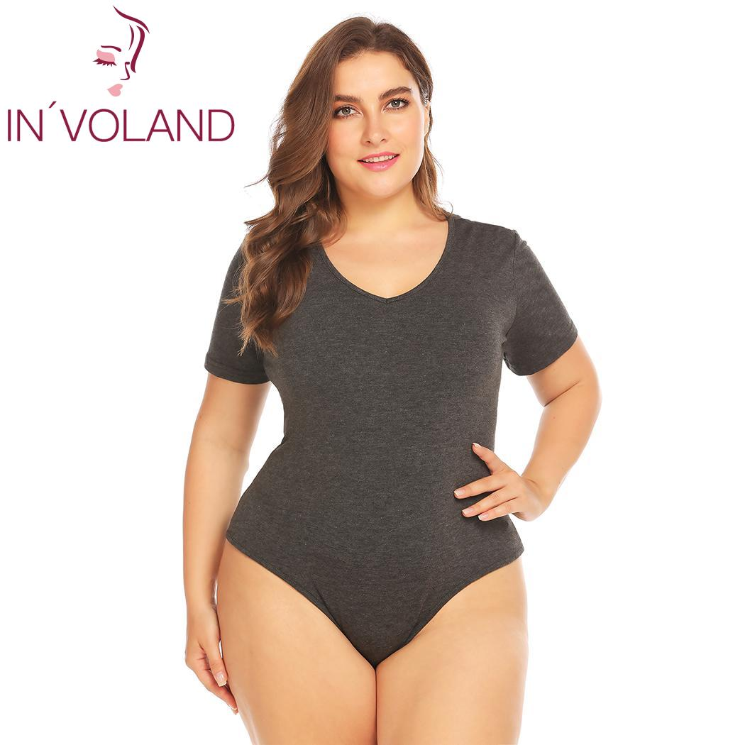 INVOLAND Plus Size Bodysuits Women Short Sleeve Female Overall Summer Jumpsuit Sexy Cotton oversize Body Suit