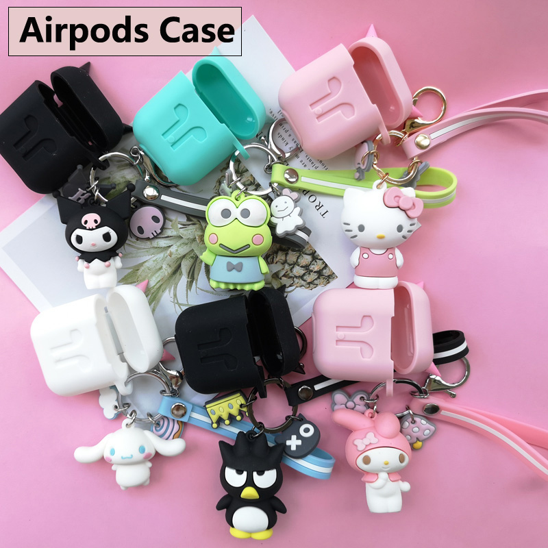 Cute Cartoon Silicone Case for Apple Airpods Bluetooth Headphones Protective Cover with Lovely Animal Dolls KeyChain Pendants