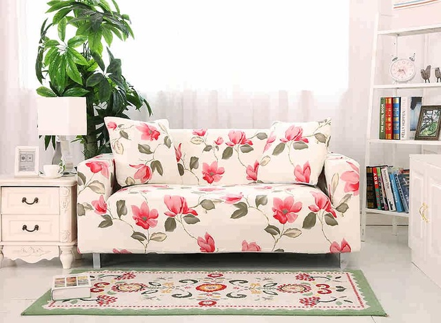Red Flower Living Room Sofa Cover Slipcover Elastic Converts Cover Tig