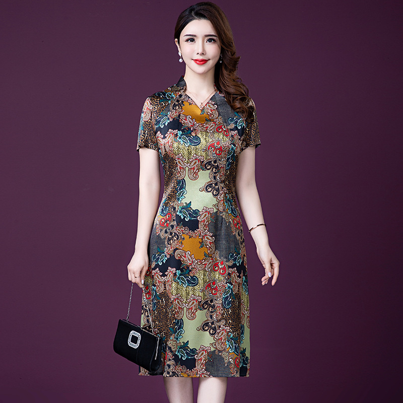 5XL Plus Size Dresses Women Imitate Real Silk Dress Fashion Mother Summer Print Party Dress Vestidos Elegant High Quality W985