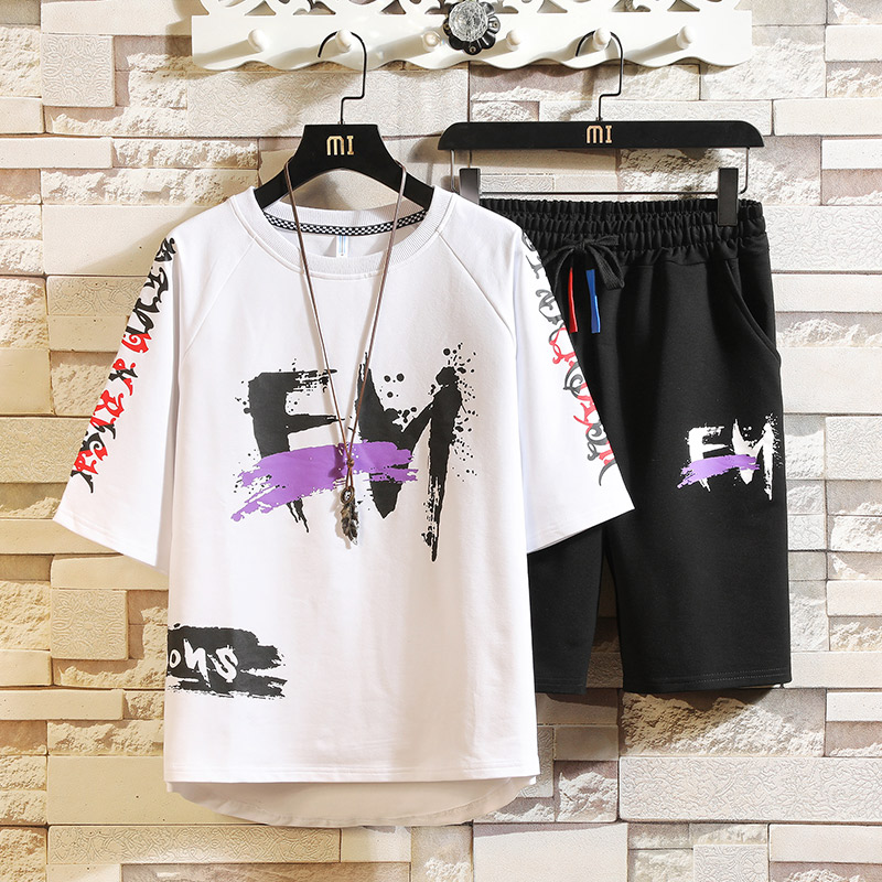 Men Sportswear Tracksuit Sets New Smmer T-shirts+Shorts 2 Pieces Sets High Quality Men Streetwear Loose Casual Sets Size 3XL