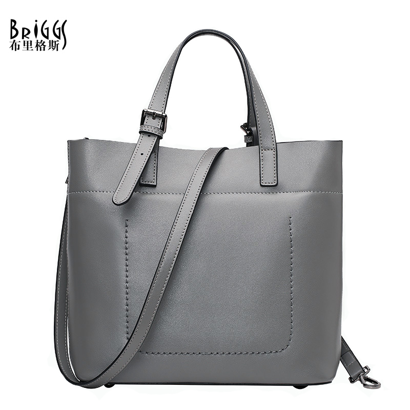 BRIGGS Brand Business Handbag Women Genuine Leather Bag Female Shoulder Bags Messenger High Quality Leather Tote Crossbody Bag female handbag bag fashion women genuine leather cowhide large shoulder bag crossbody ladies famous brand big bags high quality