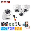 "ZOSI 1/3"" COMS HD 1000TVL 24 Led Weatherproof Outdoor CCTV Security Camera Kit"