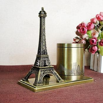 Creative Alloy Plating Metal Crafts Frace Eiffel Tower Pen Holder Memorial Tower Pen Holder Study Supplies Ornaments image