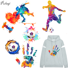 Pulaqi Fire Soccer Iron On Patches DIY T-shirt Football Player Heat Transfer Washable Stickers Clothing Applique Boy Coats F
