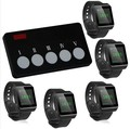 5 Watch pagers+1 multi function call button,waiter call system,Bank/restaurant/hotel/KTV/Salon/factory/office wireless calling