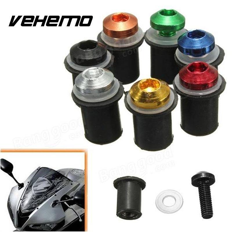 Vehemo 10x ветрового стекла Болты комплект мотоциклов лобовое стекло винт крепления Гайки Алюминий