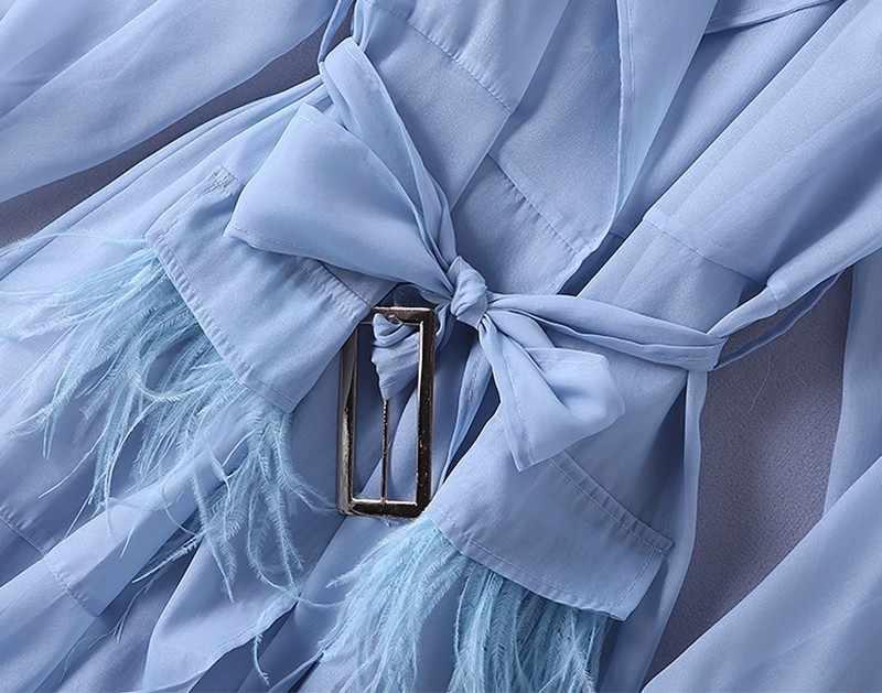 TWOTWINSTYLE Voilet кружевное платье-ветровка для женщин с длинным рукавом с перьями и карманами, сексуальные платья для вечеринок женская элегантная одежда 2018