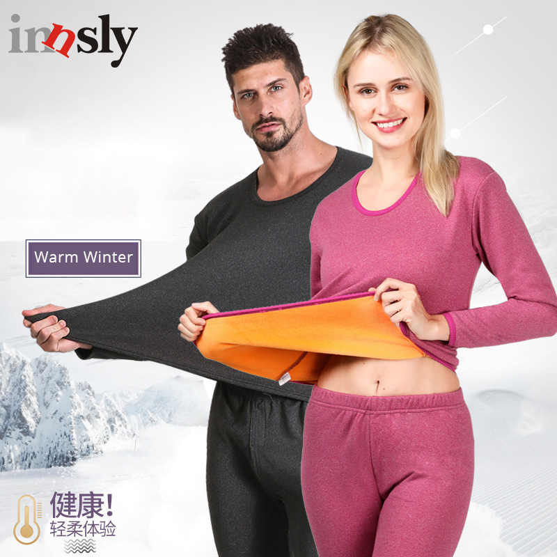 f7afe196b7 Winter Thermal Underwear Set For Couples Warm Thick Plus Velvet Long Johns Men  Womens Clothes Couple