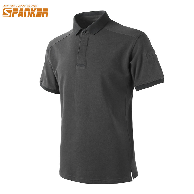 EXCELLENT ELITE SPANKER Mens Sports Po lo Golf Shirt Summer Male Tactical Cotton Breathable Solid Short-Sleeve Tennis Shirt
