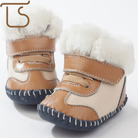 Newborn Cute Genuine Soft Leather Baby Boys Shoes Girls Infant First Walkers Toddler Snow Boots