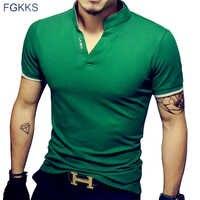 FGKKS nuevos hombres Camisetas de manga corta Camiseta de moda hombres Slim hombres camiseta Camisetas de Moda Hombre camiseta masculina homme T camisas