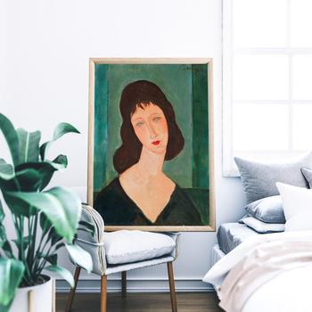 Modern Vogue Woman Portrait by Amedeo Modigliani Canvas Print Painting Poster Wall Art Pictures for Living Room Home Decor image