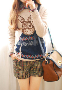 Free shipping in the autumn of 2016  animals Rabbit head  image pullover, warm sweater