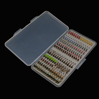 133PCS Set Ultra Thin Portable Nymph Scud Midge Fly Fishing Flies Slim Box Set For Fly