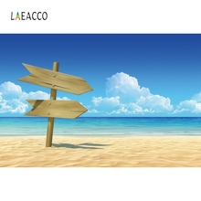Laeacco Summer Beach Seaside Wood Sign Backdrop Photography Background Customized Photographic Backdrops For Photo Studio