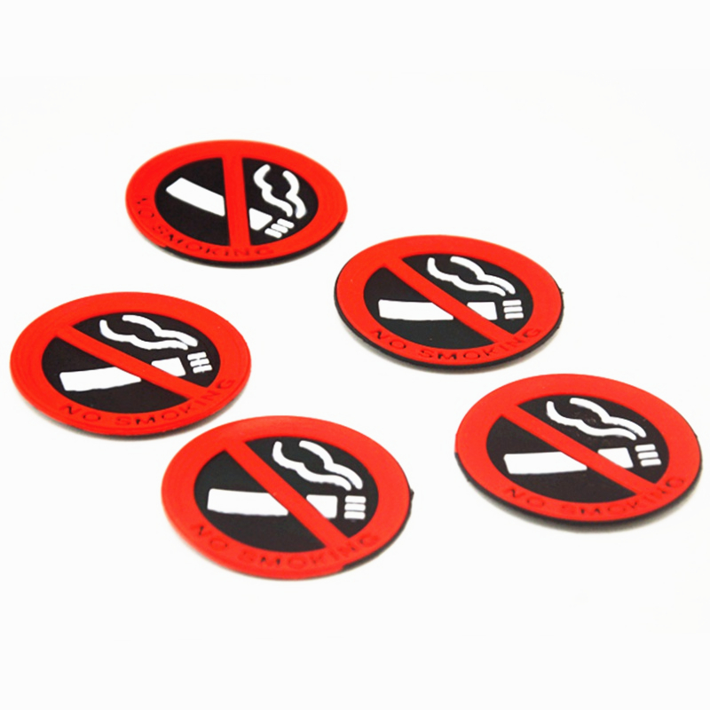 5pcs Universal Rubber NO SMOKING Sign Tips Warning Logo Stickers Car Taxi Door Decal Badge Glue Sticker Promotion Car Styling