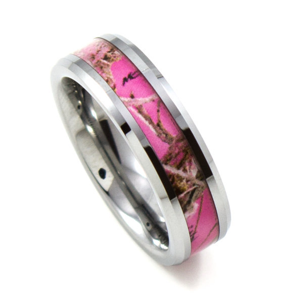free shipping high polished womens 6mm tungsten carbide ring inlay pink camo hunting camouflage wedding band size 5 15 - Pink Camo Wedding Rings