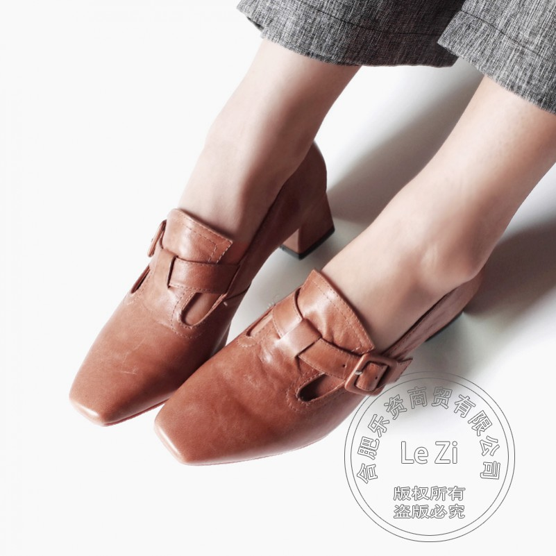 ФОТО Slip On Retro For Lady Chunky Heel High Heels Mary Janes Cheap Women Shoes Pumps China Khaki Vintage Pumps Footwear Thick