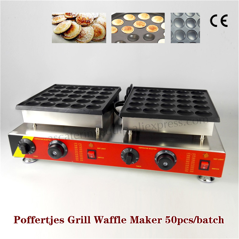 Poffertjes Grill Dutch Mini Pancakes Maker Nonstick Baking Machine 50 pcs Molds 220V 110V Brand New