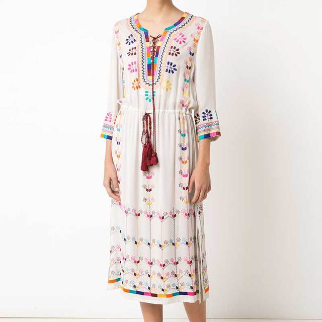 2f2096de290 Boho Inspired embroidered white midi bohemian style dress women V-neck  tassel sleeve drawstring waist summer dresses vestidos
