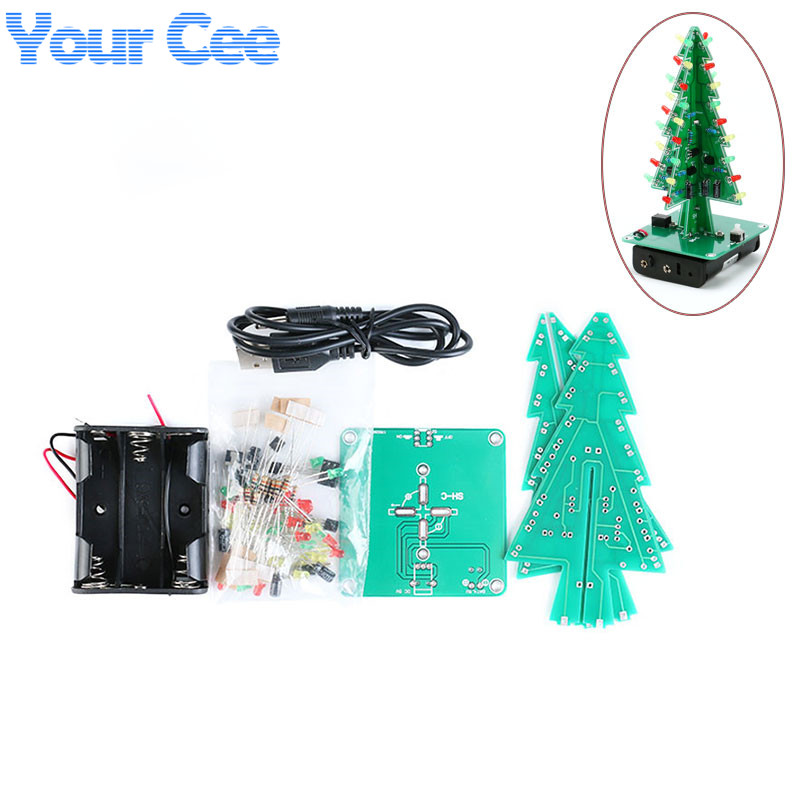 electronic practice parts flash kit flashing christmas tree partsnew three dimensional 3d christmas tree led diy kit red green yellow led