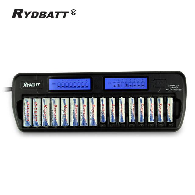 Nuevo 16 en piel cargador de batería inteligente LCD AA AAA Ni MH Ni Cd caso del servidor 16-Slot 16-Bank cargador