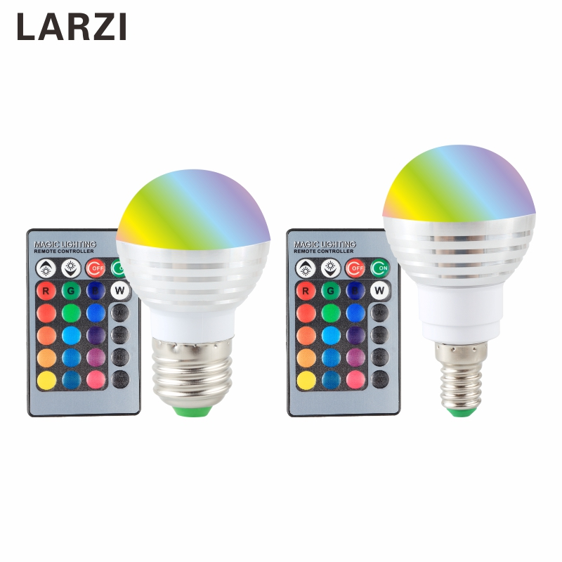 LARZI E27 E14 RGB LED Bulb 16 Color Magic LED Night Light Lamp 110V 220V 85-265V Stage Light / 24key Remote Control Holiday