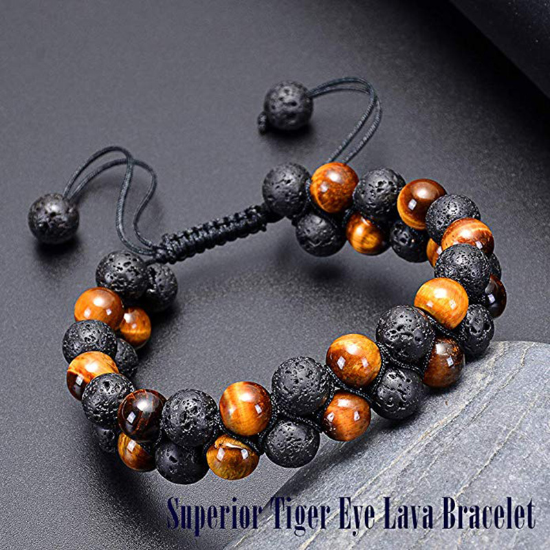 HIYONG Tiger Eye Lava Rock Essential Oil Diffuser Bracelet Natural Healing Stone Beads Bracelet 8mm Adjustable Bracelets for Men in Strand Bracelets from Jewelry Accessories