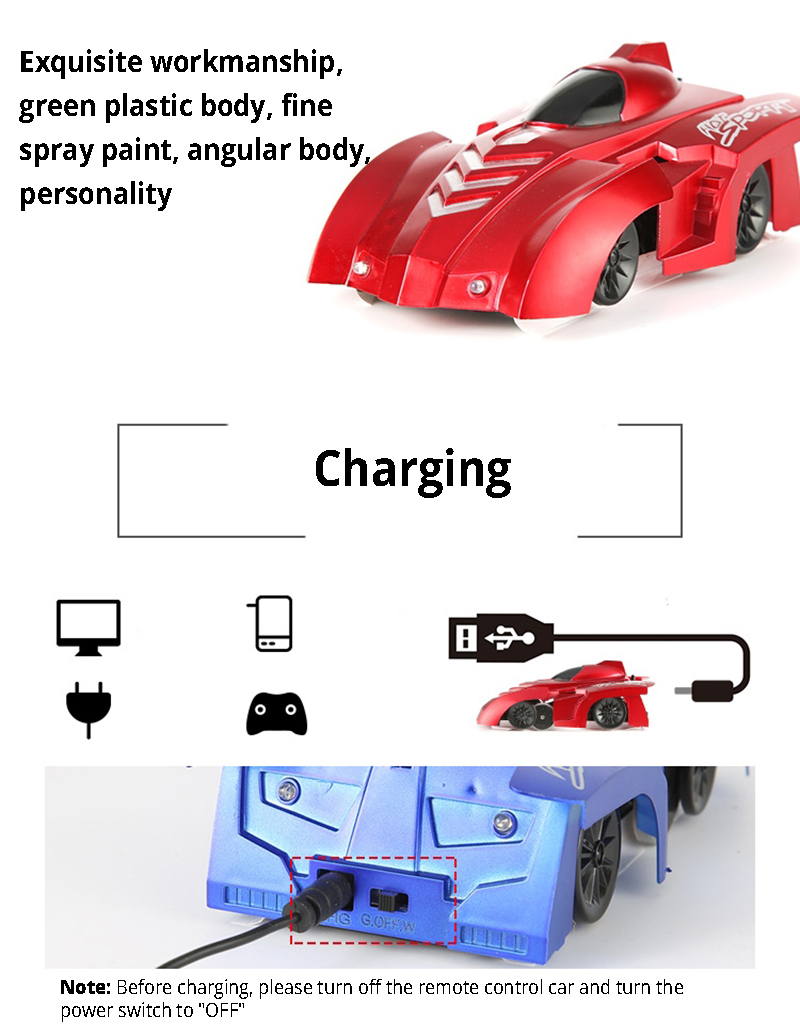 Rc Car Climbing Wall Stunt Remote Control Toys For Children Radio Controlled Electric Motor Switch R C Cars Charging Machine On The