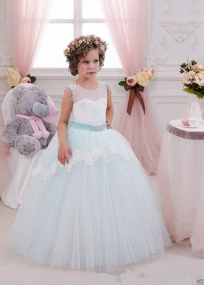 Christening White/Blue Princess Flower Girl Wedding Kid Ball Foraml Dance Gowns