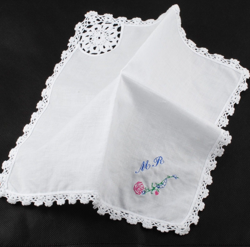 Lace decoration personalized custom embroidered hanky