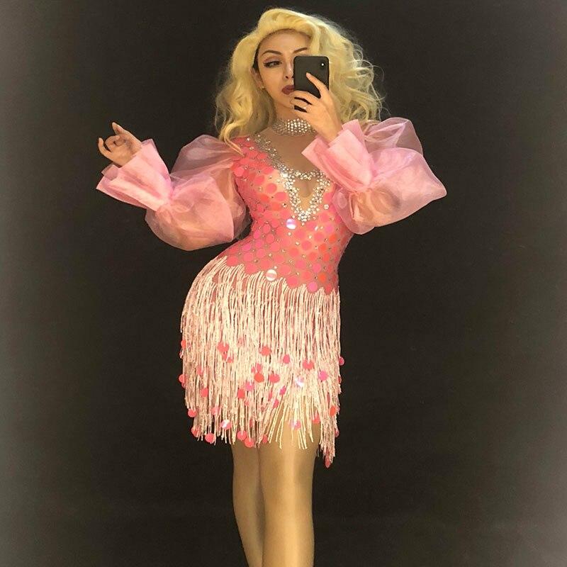 Femmes Sexy rose gland strass robe cristaux scintillants discothèque partie Performance scène porter danseur Bling chanteur Costumes