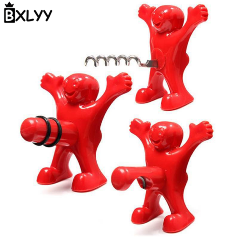 BXLYY 2018 1pc Creative Villain Red Wine Beer Bottle Opener Wine Stopper Bar Tool Kitchen Furniture Decoration Accessories 7z in Wine Stoppers from Home Garden