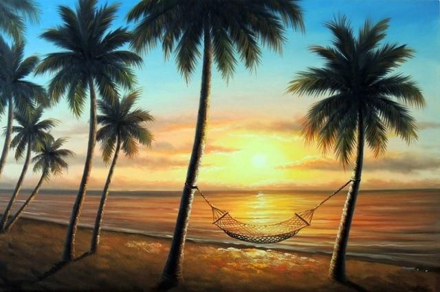 Hawaii Sunset Beach Hammock Island Shore Palm Tree Oil