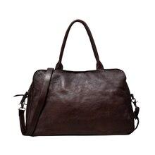 Vintage Leisure Men Genuine Leather Briefcase Unisex Shoulder Large Capacity Cowhide Bag Elegant Commuter Bags Bolso Hombre Z709