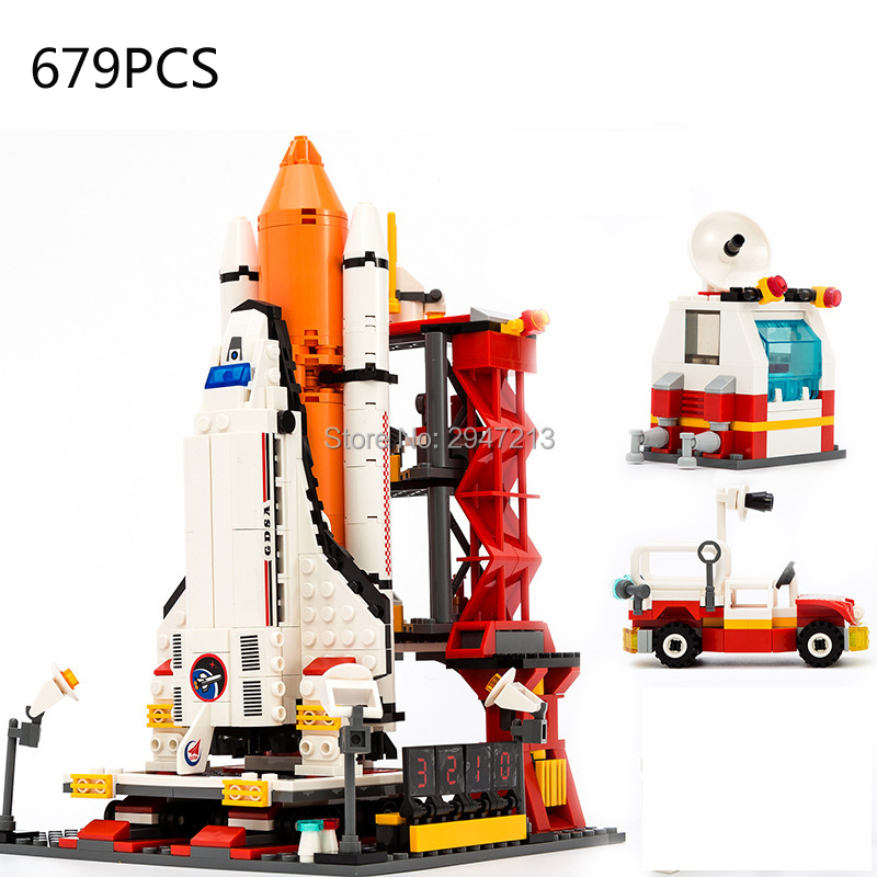 hot compatible LegoINGlys military city Space Shuttle Manned Spacecraft Launch Center Building Blocks Astronauts figures toys hot compatible legoinglys military modern warfare the u s osprey transport aircraft v 22 building blocks figures brick toys